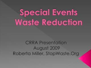 Special Events  Waste Reduction