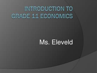 Introduction to Grade 11 Economics