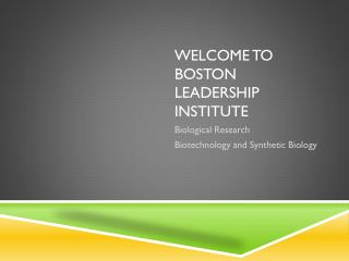 Welcome to Boston Leadership Institute