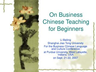 On Business Chinese Teaching for Beginners