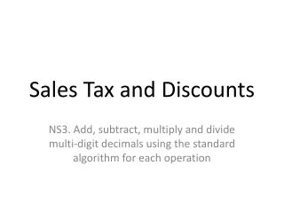 Sales Tax and Discounts
