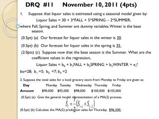 1. Suppose that liquor sales is estimated using a seasonal model given by:               Liquor Sales = 30 + 3*FALL + 5*