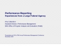 performance reporting experiences from a large federal agency