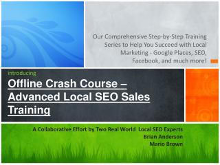 introducing Offline Crash Course –  Advanced Local SEO Sales Training