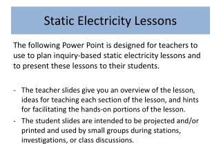 Static Electricity Lessons