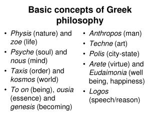 Basic concepts of Greek philosophy