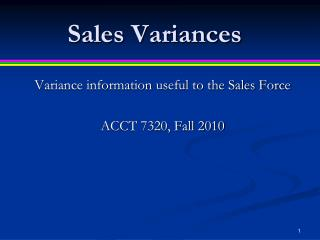 Sales Variances