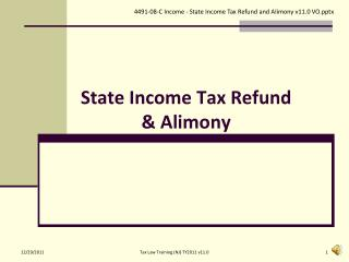 State Income Tax Refund & Alimony