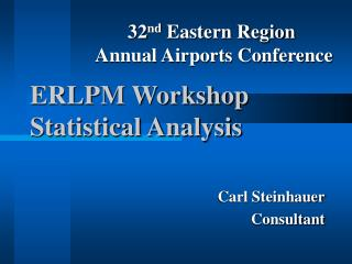 ERLPM Workshop Statistical Analysis