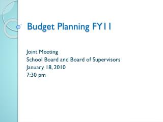 Budget Planning FY11