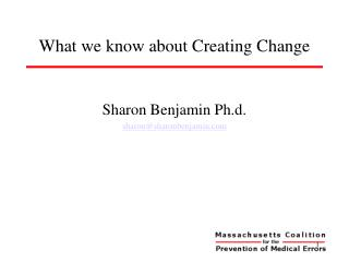 What we know about Creating Change