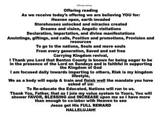 Offering reading