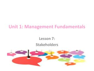 Unit 1: Management Fundamentals