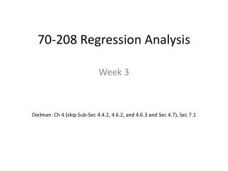 70-208 Regression Analysis