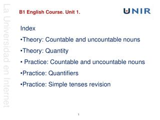 B1 English Course. Unit 1 .