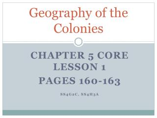 Geography of the Colonies