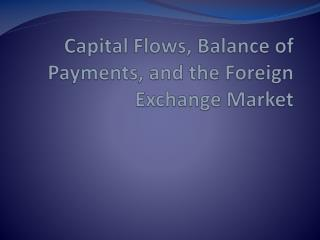 Capital Flows, Balance of Payments, and the Foreign Exchange Market