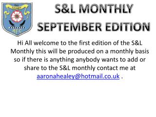 S&L MONTHLY SEPTEMBER EDITION
