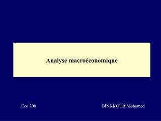 analyse macro conomique