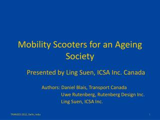 Mobility  Scooters for an  Ageing  Society