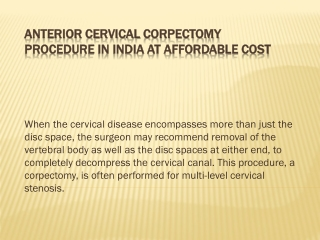 anterior cervical corpectomy procedure in india at affordabl