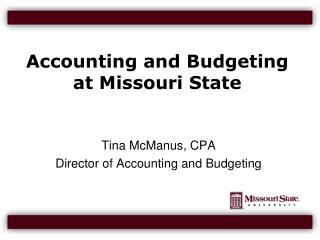 Accounting and Budgeting at Missouri State