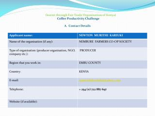 (learnt through Fair Trade Organization of Kenya) Coffee Productivity Challenge  A.  Contact Details