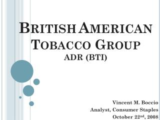 British American Tobacco Group ADR (BTI)