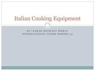 Italian Cooking Equipment