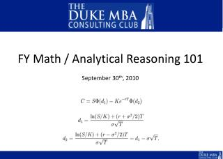 FY Math / Analytical Reasoning 101 September 30 th , 2010