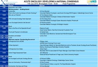 ACUTE ONCOLOGY: DEVELOPING A NATIONAL CONSENSUS 11th July 2014, Birmingham 10.00 - 16.00            Final Programme