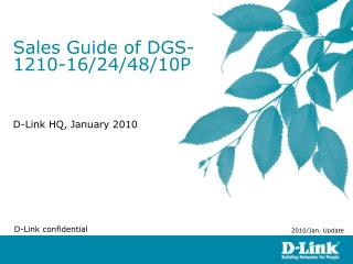 Sales Guide of DGS-1210-16/24/48/10P