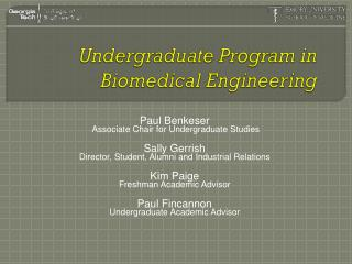 Undergraduate Program in Biomedical Engineering