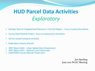 HUD Parcel Data Activities Exploratory