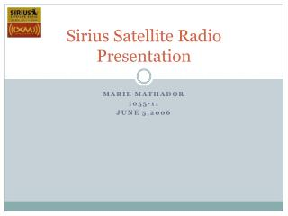 Sirius Satellite Radio Presentation