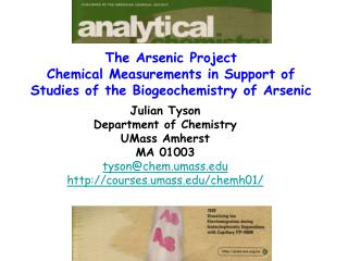 The Arsenic Project  Chemical Measurements in Support of Studies of the Biogeochemistry of Arsenic
