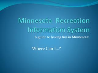 Minnesota  Recreation Information System