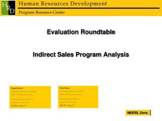 Evaluation Roundtable Indirect Sales Program Analysis
