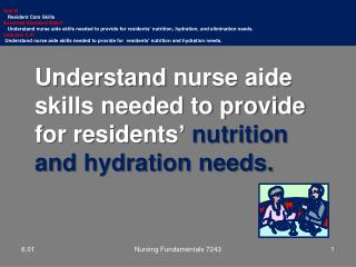 Understand  nurse  aide skills needed to provide for residents '  nutrition and  hydration needs.