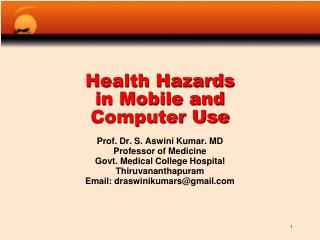 Health Hazards  in Mobile and  Computer Use