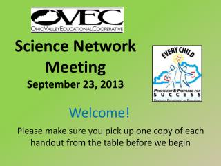 Science Network Meeting September 23, 2013