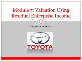 Module  7 : Valuation Using Residual Enterprise Income
