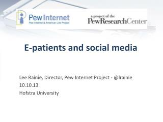 E-patients and social media