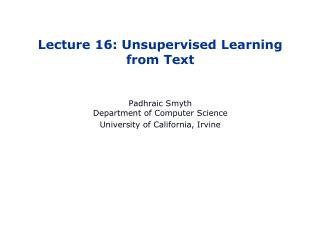 Lecture 16: Unsupervised Learning from Text