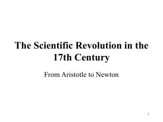 The Scientific Revolution in the 17th Century