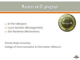 Masters in IT program