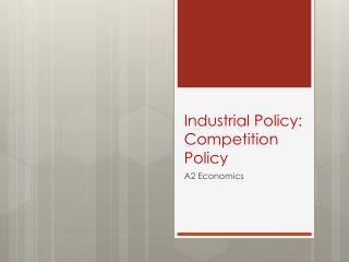 Industrial Policy:  Competition Policy