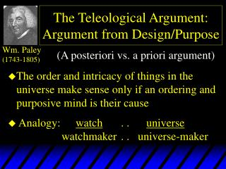 The Teleological Argument: Argument from Design/Purpose