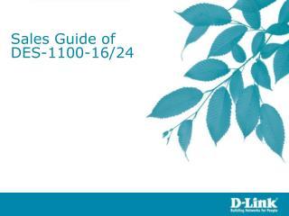 Sales Guide of DES-1100-16/24