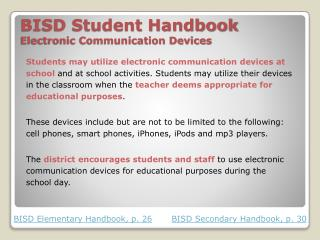 BISD Student Handbook Electronic Communication Devices